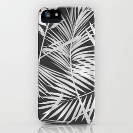 Tropical Black White Monochrom Floral Leafs Pattern iPhone Case