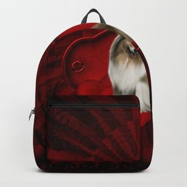 Cute collie with hearts Backpack