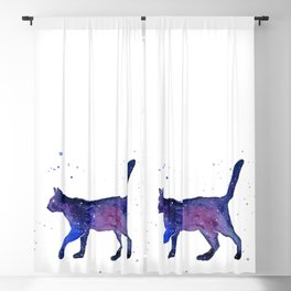 Space Cat Watercolor Blackout Curtain