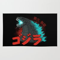 kaiju Area & Throw Rugs featuring Mighty Kaiju Gojira by pigboom el crapo