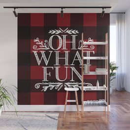Oh What Fun Red Wall Mural