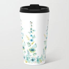 Blue Floral Twist Metal Travel Mug