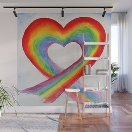 Rainbow heart Wall Mural