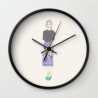 swedish Wall Clocks featuring Swedish girl by uzualsunday