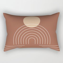 Geometric Lines in Terracotta and Beige 25 (Sun and Rainbow) Rectangular Pillow