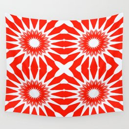 Red Pinwheel Flowers Wall Tapestry