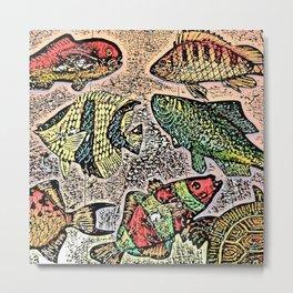 Fish Magnets Metal Print