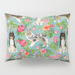 Sheltie shetland sheepdog hawaii floral hibiscus flowers pattern dog breed pet friendly Pillow Sham