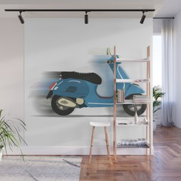 Retro Blue Scooter Wall Mural