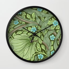 William Morris - Wallpaper Sample With Forget - Me - Nots Wall Clock