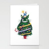 Stationery Cards featuring Christmas T0T0R0 (Studio Ghibli) by Simanion