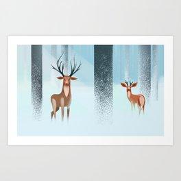 Deer's snow Art Print