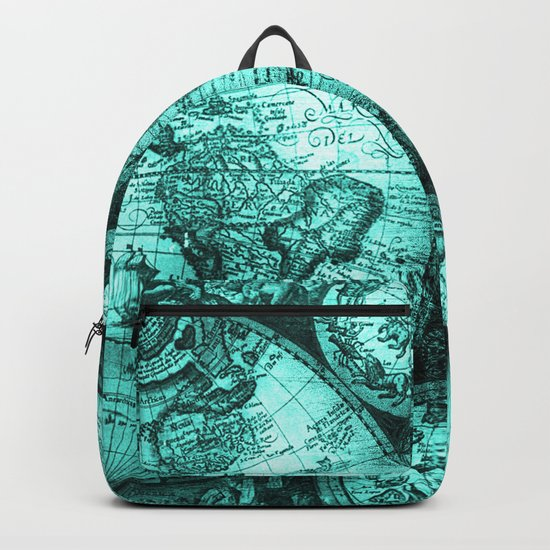 Vintage Turquoise Green Map Design Backpack