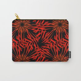 Pattern of kaleidoscopic ornaments of red and orange lines on a black background in vintage style. Carry-All Pouch