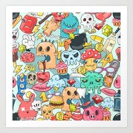 Cartoon Doodling and Artistic Characters Art Print