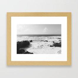 Vintage film style Black and white coast. Framed Art Print