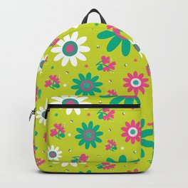 Retro Fall 60's Sunflower Floral in Lime Green Backpack