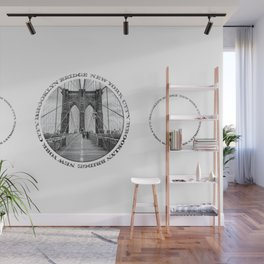 Brooklyn Bridge New York City (black & white triple badge style) Wall Mural