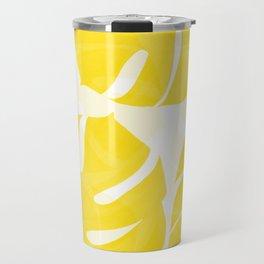Mellow Yellow Monstera Leaves White Background #decor #society6 #buyart Travel Mug