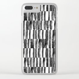 Watercolor Black and White Stripe Clear iPhone Case