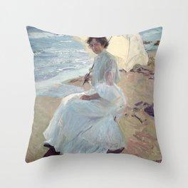 Clotilde on the Beach - Joaquín Sorolla Throw Pillow
