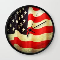 america Wall Clocks featuring America by ThePhotoGuyDarren