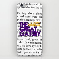 fitzgerald iPhone & iPod Skins featuring The Great Gatsby - F. Scott Fitzgerald / Book Cover Art Poster  by FunnyFaceArt