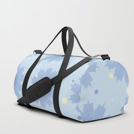 Blue shades blend flowers with polka dot background Duffle Bag