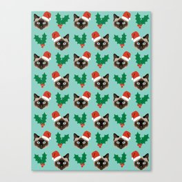 Siamese Cat cute christmas gift santa hat pattern mistletoe and holly wreath cats cute kitten gift  Canvas Print