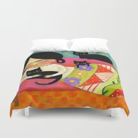 sofa Duvet Covers featuring Frida with black cats on sofa by tascha