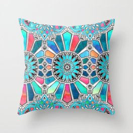 Iridescent Watercolor Brights on White Throw Pillow