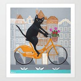 Amsterdam Cat Bicycle Ride Art Print