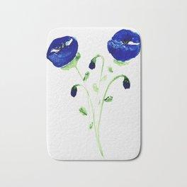 Watercolor blue poppies Bath Mat