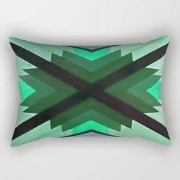 Navaho Vibes Geometric Pattern - Black Pine Aqua Rectangular Pillow