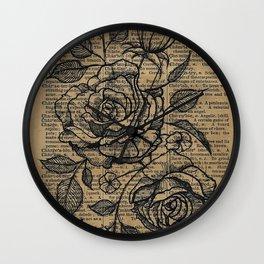 Antiqued Roses Wall Clock