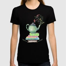 Books & Tea Watercolor MEDIUM Black Womens Fitted Tee