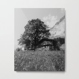 Mountain house, Lauterbrunnen, Switzerland | Wooden cabin travel photography in the Swiss Alpes | Black and white landscape Metal Print