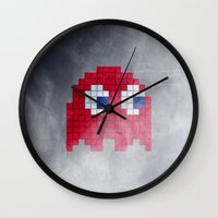 pac man Wall Clocks featuring Pac-Man Red Ghost by Psocy Shop