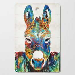 Colorful Donkey Art - Mr. Personality - By Sharon Cummings Cutting Board