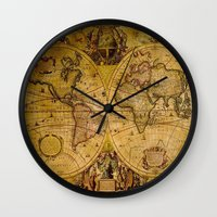 vintage map Wall Clocks featuring VintaGe Map by ''CVogiatzi.