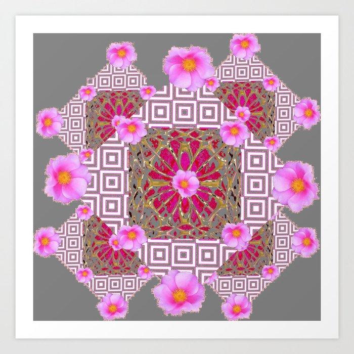 Grey Pink Abstract Set Art