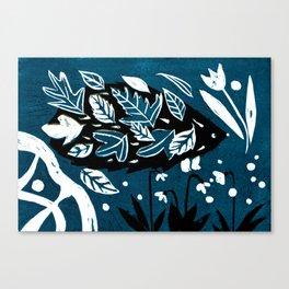 Hedgehog - Dark Petrol Blue Palette Canvas Print