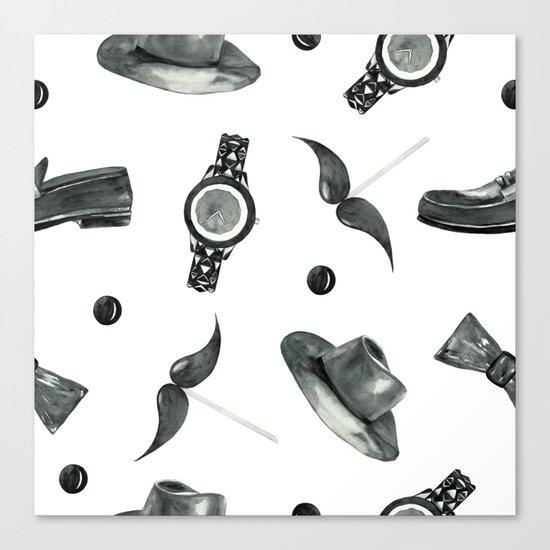 watercolor fashion pattern  black on white Canvas Print