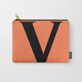 V MONOGRAM (BLACK & CORAL) Carry-All Pouch