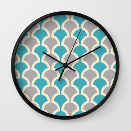 Classic Fan or Scallop Pattern 416 Gray and Turquoise Blue Wall Clock
