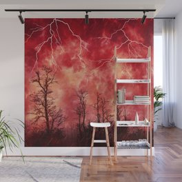 Mysterious Fiery Skies with Lightning Wall Mural