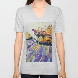 Poppin Purple Echinacea watercolor by CheyAnne Sexton Unisex V-Neck