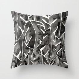 Split Leaf Philodendron - Black Throw Pillow