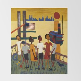 African American Masterpiece 'Ferry' NYC by William Johnson Throw Blanket