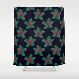 Glowing Hibiscus at Dusk Shower Curtain
